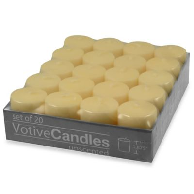 Unscented Votive Candles in Ivory (Set of 20)