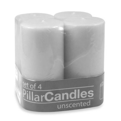 2-Inch x 4-Inch Unscented Pillar Candles in White (Set of 4)