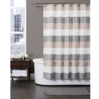 Baltic Linen 76-Inch x 96-Inch Yarn-Dyed Strata Striped Shower Curtain