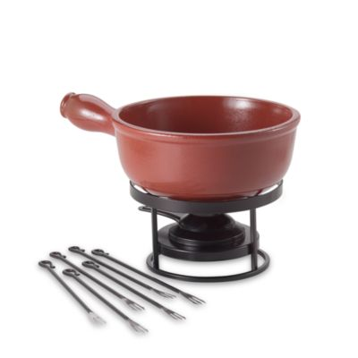 Emile Henry Flame Top Red 2.6-Quart Fondue Set