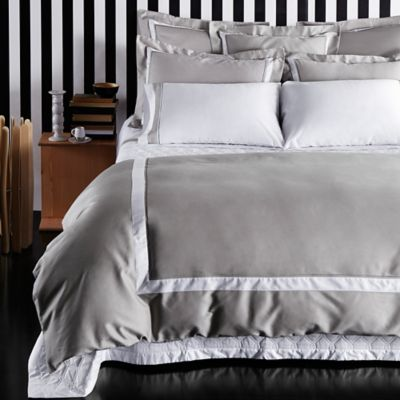 Frette At Home Arno Queen Duvet Cover in Grey/White