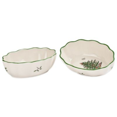 Spode® Christmas Tree Fluted Oval Dish (Set of 2)