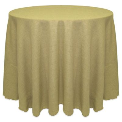 Havana Rustic Faux Burlap 90-Inch Round Tablecloth in White