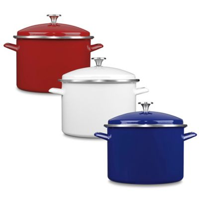 Cuisinart® Chef's Classic™ Enamel on Steel 16-Quart Covered Stockpot in Red