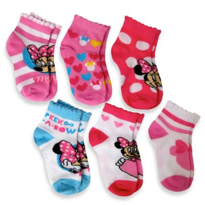 6-Pack Minnie Mouse Socks in Assorted Designs from Buy Buy ...