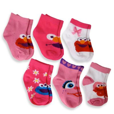Size 6-12M 6-Pack Elmo Girls Quarter Socks in Assorted Designs - from Sesame Street