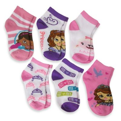 Size 2-4T 6-Pack Doc McStuffins and Sofia the First Girls Quarter Socks in Assorted Designs