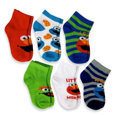 Size 6-12M 6-Pack Elmo Boys Quarter Socks in Assorted Designs