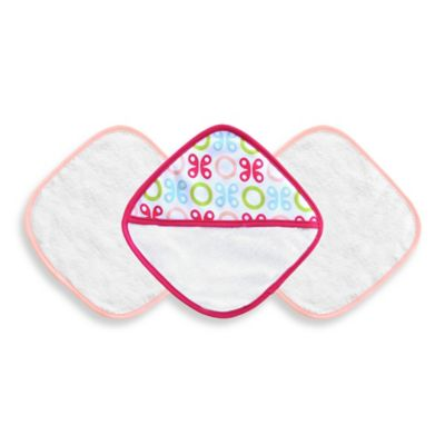 JJ Cole® 3-Piece Washcloth Set in Pink Butterfly