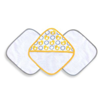 JJ Cole® 3-Piece Washcloth Set in Yellow Ducks