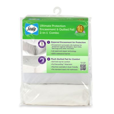 Sealy® Ultimate Protection Encasement & Quilted Crib Mattress Pad Combo 2-in-1 pack