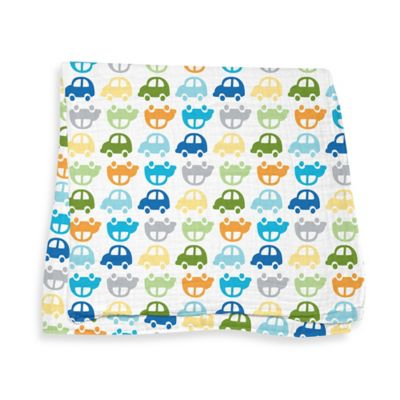 iPlay.® Brights Organic Muslin Swaddle Blanket in Car Pattern