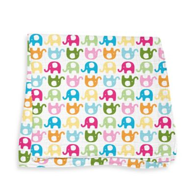 iPlay.® Brights Organic Muslin Swaddle Blanket in Elephant Pattern