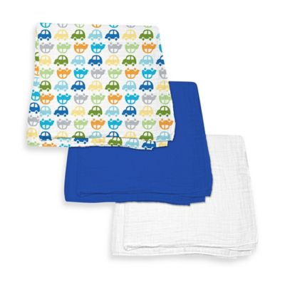 iPlay.® Brights Organic Muslin Swaddle Blanket 3-Piece Gift Set in Royal Blue/Car