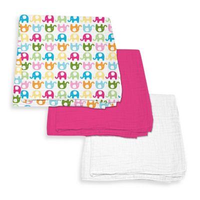 iPlay.® Brights Organic Muslin Swaddle Blanket 3-Piece Gift Set in Fuchsia/Elephant