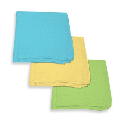 iPlay.® Brights Organic Muslin Swaddle Blanket 3-Piece Gift Set in Light Aqua/Yellow/Light Lime