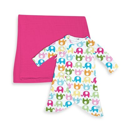 i Play.® Brights Organic Muslin 2-Piece Gown and Blanket Gift Set in Fuchsia/Elephant