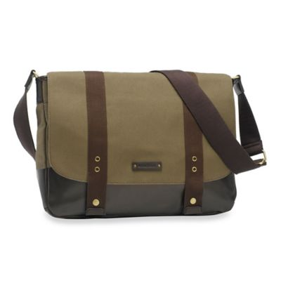 Storksak® Aubrey Messenger Bag in Khaki/Chocolate
