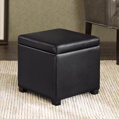 Black Storage Ottoman with Tray