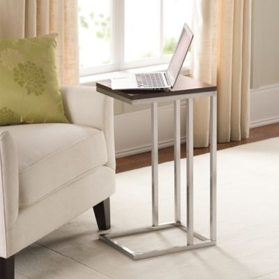 Black and Tan Morgan Narrow Brushed Steel C-Table with MDF Wood Top