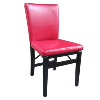 Red Faux Leather Folding Chair