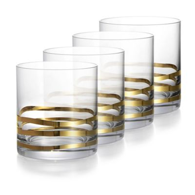 Fitz and Floyd® Double Old Fashion Glass in Gold Waves (Set of 4)