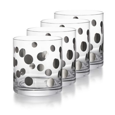 Fitz and Floyd® Double Old Fashion Glass in Platinum Dots (Set of 4)