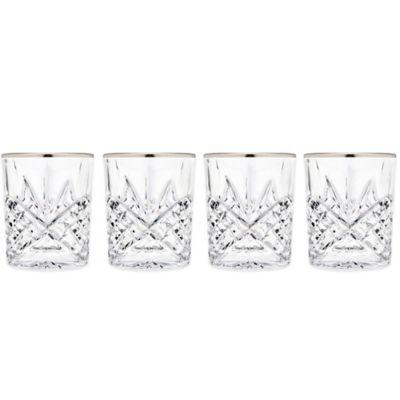 Godinger Platinum 8 oz. Double Old-Fashioned Glasses (Set of 4)