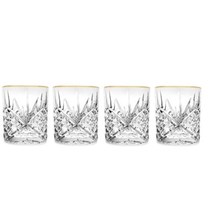 Godinger Gold 8 oz. Double Old-Fashioned Glasses (Set of 4)