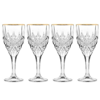 Godinger Gold 9 oz. Goblet Glasses (Set of 4)