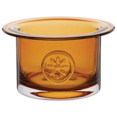 Dartington Crystal Flower Bowl in Clematis Amber