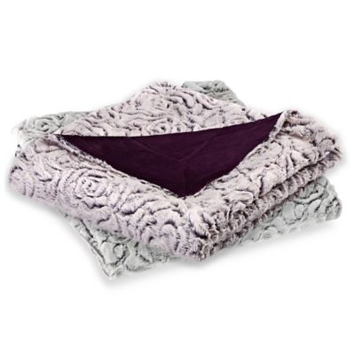 Azalea Micro-Mink Oversized Reversible Throw in Grape