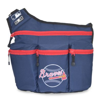Diaper Dude® MLB Atlanta Braves Messenger Diaper Bag in Navy