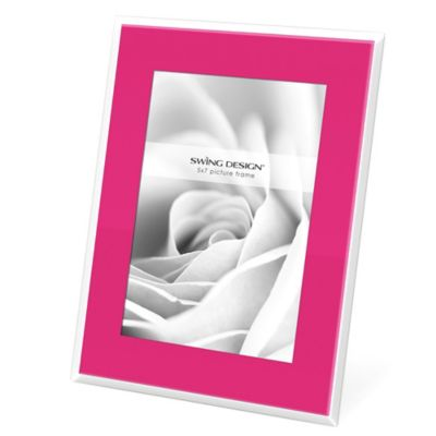 Swing Design™ Mia 5-Inch x 7-Inch Frame in Pink with White Border