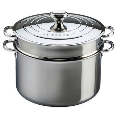 Le Creuset® 9-Quart Tri-Ply Stainless Steel Covered Stockpot with Deep Colander Insert