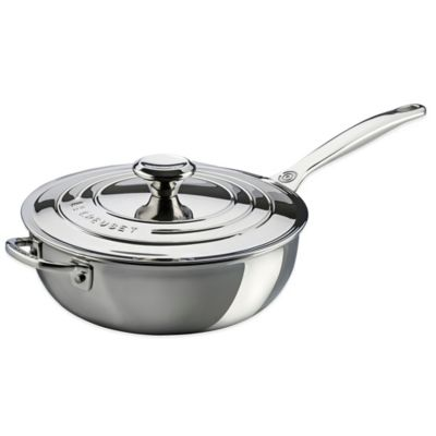 Le Creuset® 3.5-Quart Tri-Ply Stainless Steel Covered Saucier Pan with Helper Handle