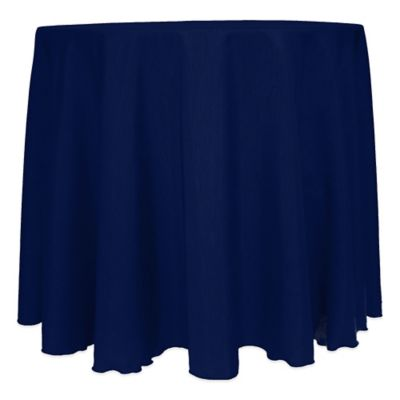 Majestic Satin Finished 120-Inch Round Tablecloth in Navy
