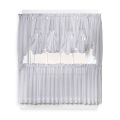 Emelia 40-Inch Fan Insert Sheer Window Curtain in Grey