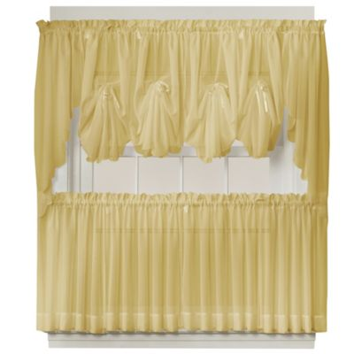 Emelia 40-Inch Fan Insert Sheer Window Curtain in Gold