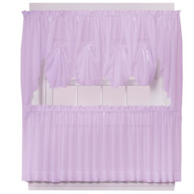 Emelia 40-Inch Fan Insert Sheer Window Curtain in Lilac