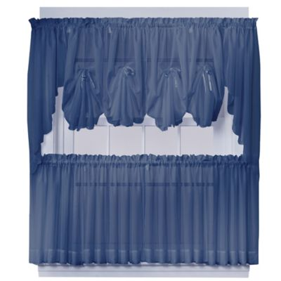 Emelia 40-Inch Fan Insert Sheer Window Curtain in Navy