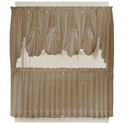 Emelia 40-Inch Fan Insert Sheer Window Curtain in Taupe