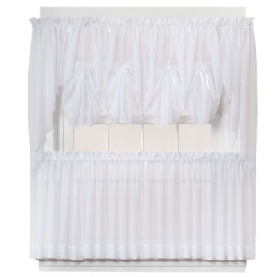 Emelia 30-Inch Sheer Window Curtain Tier Pair in White
