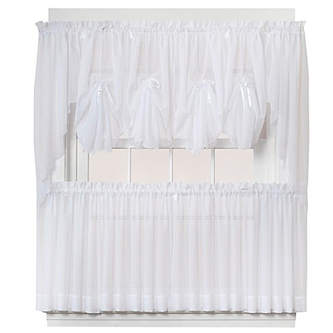 buy emelia 24 inch sheer window curtain tier pair in white. Black Bedroom Furniture Sets. Home Design Ideas