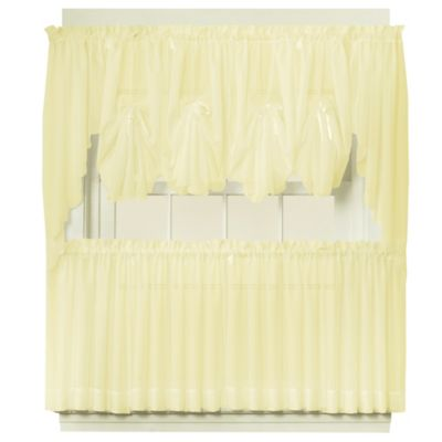 Emelia 40-Inch Fan Insert Sheer Window Curtain in Yellow