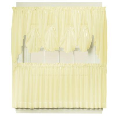 Emelia 24-Inch Sheer Window Curtain Tier Pair in Yellow