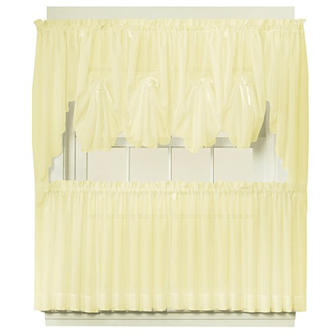Buy Emelia 24 Inch Sheer Window Curtain Tier Pair In