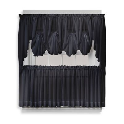 Emelia 24-Inch Sheer Window Curtain Tier Pair in Black
