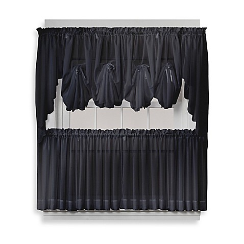 buy emelia 24 inch sheer window curtain tier pair in black from bed