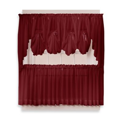Emelia 38-Inch Window Curtain Swag Pair in Burgundy